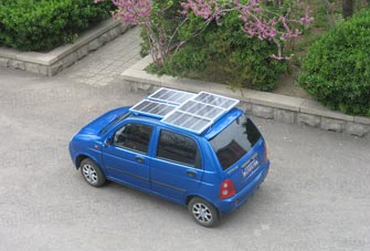 Combination of Hotian Solar Panel and Electric vehicle
